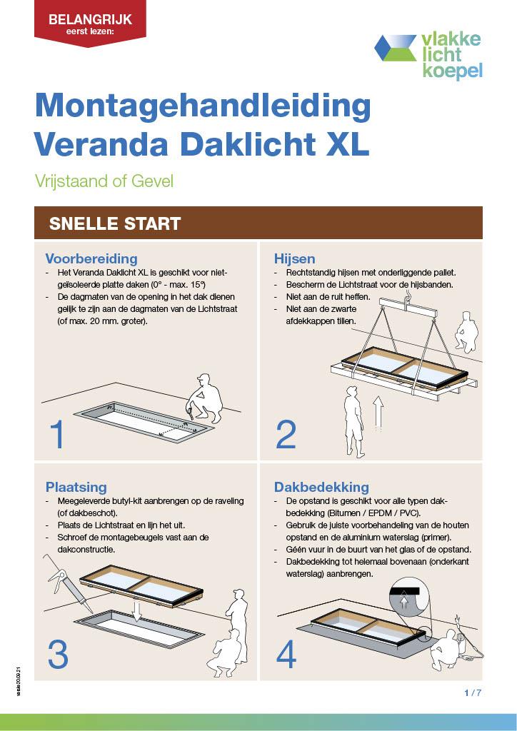 Montagehandleiding Veranda Daklicht XL