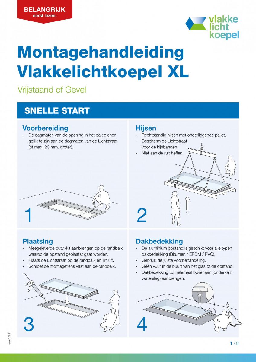 Montagehandleiding Vlakkelichtkoepel XL